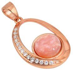 Natural pink opal topaz 925 sterling silver 14k rose gold pendant a59293 c15323