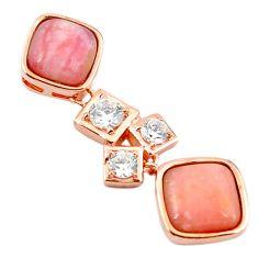 Natural pink opal topaz 925 sterling silver 14k rose gold pendant a68430 c14104