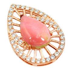 Natural pink opal topaz 925 sterling silver 14k rose gold pendant a68513 c14166