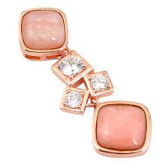 Natural pink opal topaz 925 sterling silver 14k rose gold pendant a76179 c15018