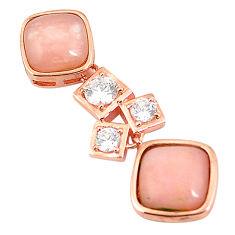 Natural pink opal topaz 925 sterling silver 14k rose gold pendant a76180 c15001