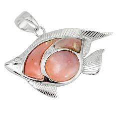 Natural pink opal white topaz 925 sterling silver fish pendant a59236 c15009
