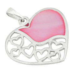 3.48gms natural pink pearl enamel sterling silver heart pendant a46330 c14897
