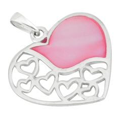 3.69gms natural pink pearl enamel sterling silver heart pendant a46331 c14885
