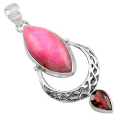 17.69cts natural pink petalite garnet 925 sterling silver pendant jewelry r39139
