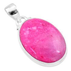 15.08cts natural pink petalite oval 925 sterling silver pendant jewelry t21535