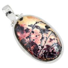 19.84cts natural pink porcelain jasper (sci fi) 925 silver pendant r81150