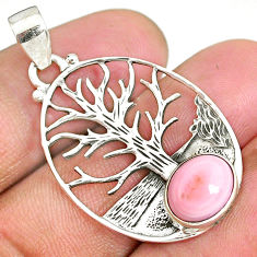 3.93cts natural pink queen conch shell 925 silver tree of life pendant r90428