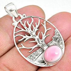 4.16cts natural pink queen conch shell 925 silver tree of life pendant r90429