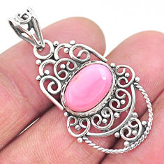 4.08cts natural pink queen conch shell 925 sterling silver pendant jewelry t4350