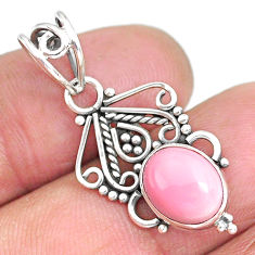 3.67cts natural pink queen conch shell 925 sterling silver pendant r90215