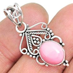 3.58cts natural pink queen conch shell 925 sterling silver pendant r90216