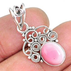 3.65cts natural pink queen conch shell 925 sterling silver pendant r90217