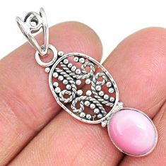 3.85cts natural pink queen conch shell 925 sterling silver pendant r90220