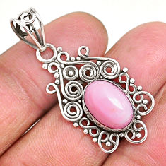 4.06cts natural pink queen conch shell 925 sterling silver pendant r94008