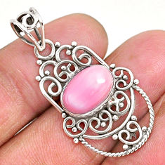 4.03cts natural pink queen conch shell 925 sterling silver pendant r94009