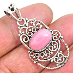 4.07cts natural pink queen conch shell 925 sterling silver pendant r94011