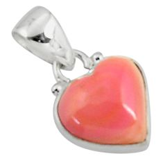6.55cts natural pink queen conch shell heart 925 sterling silver pendant r50896