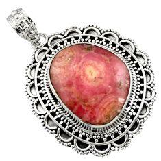 19.10cts natural pink rhodochrosite inca rose (argentina) silver pendant d45032