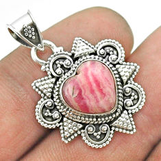 5.09cts natural pink rhodochrosite inca rose (argentina) silver pendant t56079