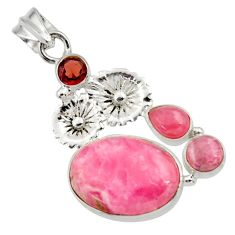 15.85cts natural pink rhodochrosite inca rose 925 silver flower pendant d43014