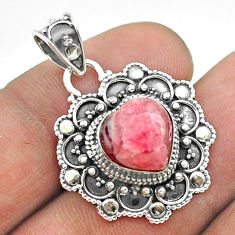 5.79cts natural pink rhodochrosite inca rose 925 silver heart pendant t56107