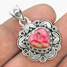 5.52cts natural pink rhodochrosite inca rose 925 silver heart pendant t56138