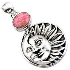 4.48cts natural pink rhodochrosite inca rose 925 silver moon face pendant r52806