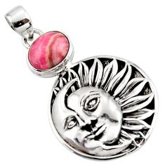 5.25cts natural pink rhodochrosite inca rose 925 silver moon face pendant r52849