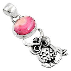 5.38cts natural pink rhodochrosite inca rose 925 silver owl pendant r52925