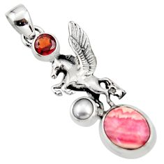 6.53cts natural pink rhodochrosite inca rose 925 silver unicorn pendant r52727