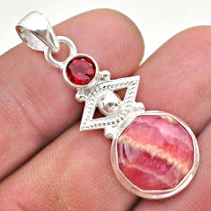 7.12cts natural pink rhodochrosite inca rose garnet 925 silver pendant t46408