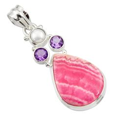 20.07cts natural pink rhodochrosite inca rose pearl 925 silver pendant d43012