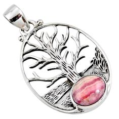 4.62cts natural pink rhodochrosite inca rose silver tree of life pendant r52992
