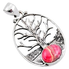 4.37cts natural pink rhodochrosite inca rose silver tree of life pendant r53008