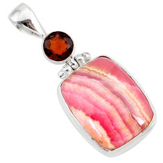 15.08cts natural pink rhodochrosite rose (argentina) 925 silver pendant r87574