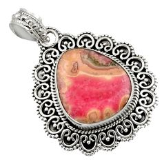 16.93cts natural pink rhodochrosite stalactite 925 silver pendant jewelry d45055