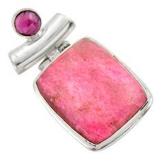 25.28cts natural pink rhodolite red garnet 925 sterling silver pendant r31825