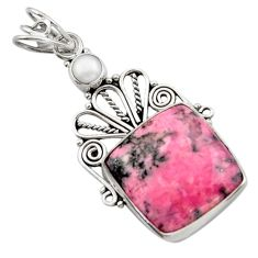 14.90cts natural pink rhodonite in black manganese 925 silver pendant d46692