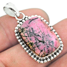 13.71cts natural pink rhodonite in black manganese 925 silver pendant t53681