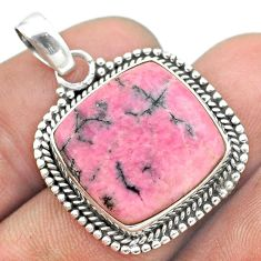 17.20cts natural pink rhodonite in black manganese 925 silver pendant t53683