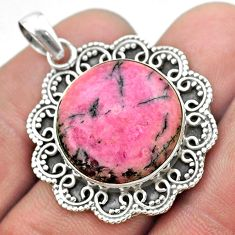 17.69cts natural pink rhodonite in black manganese 925 silver pendant t53696