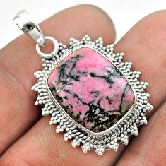 12.36cts natural pink rhodonite in black manganese 925 silver pendant t53701