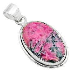 16.62cts natural pink rhodonite in black manganese oval silver pendant t53575