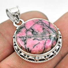 15.97cts natural pink rhodonite in black manganese round silver pendant t53703