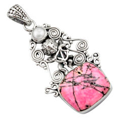 15.76cts natural pink rhodonite in black manganese silver angel pendant d46695