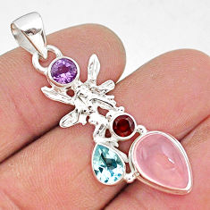 7.15cts natural pink rose quartz 925 silver angel wings fairy pendant r96363
