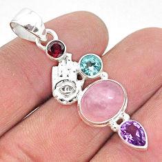 7.53cts natural pink rose quartz 925 silver hand of god hamsa pendant r96367