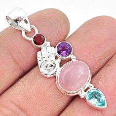 8.53cts natural pink rose quartz 925 silver hand of god hamsa pendant r96371