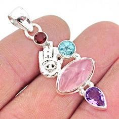 8.55cts natural pink rose quartz 925 silver hand of god hamsa pendant r96373